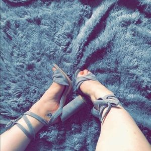 Steve Madden gray suede lace up heels
